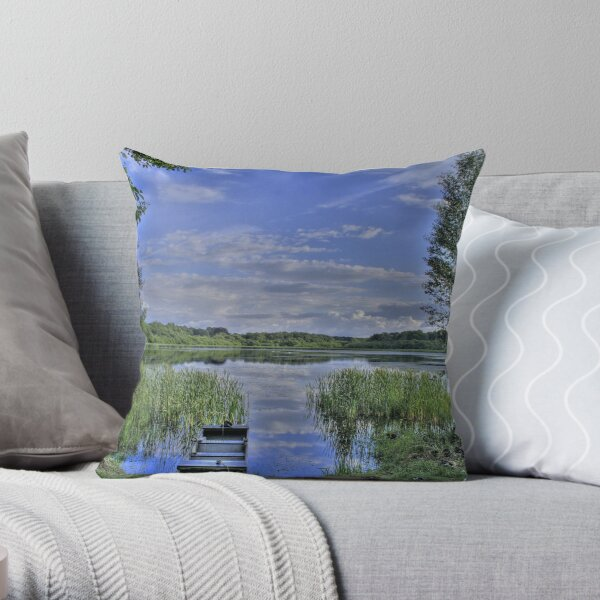 boat and lake in hdr Throw Pillow