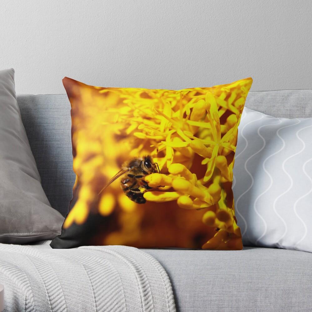 Bee on christmas tree Throw Pillow