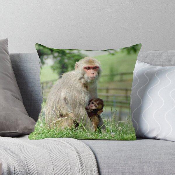 Rhesus Macaque Monkeys Throw Pillow