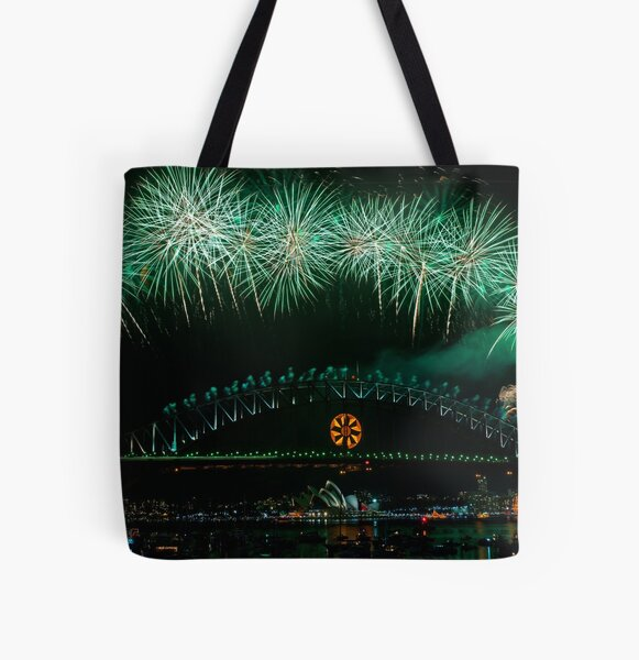 NYE 2008: Midnight Fireworks at McMahons Point All Over Print Tote Bag