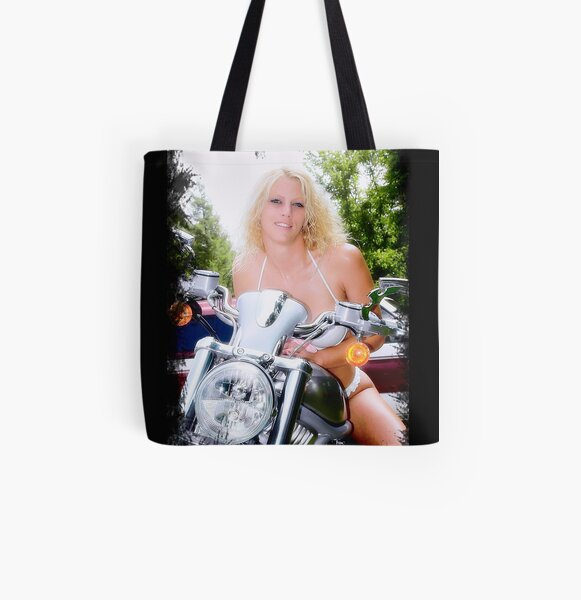 Bikes and Babes All Over Print Tote Bag