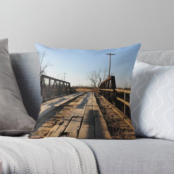 Old Wooden Bridge Throw Pillow