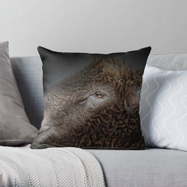 Barbed wire and a sheeps head. Throw Pillow