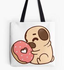 Cute Pug With Doughnut Tote Bag