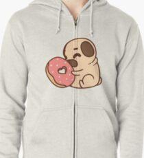 Cute Pug With Doughnut Zipped Hoodie