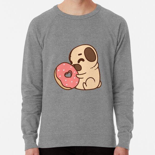 Cute Pug With Doughnut Lightweight Sweatshirt