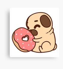 Cute Pug With Doughnut Canvas Print