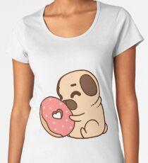 Cute Pug With Doughnut Women's Premium T-Shirt