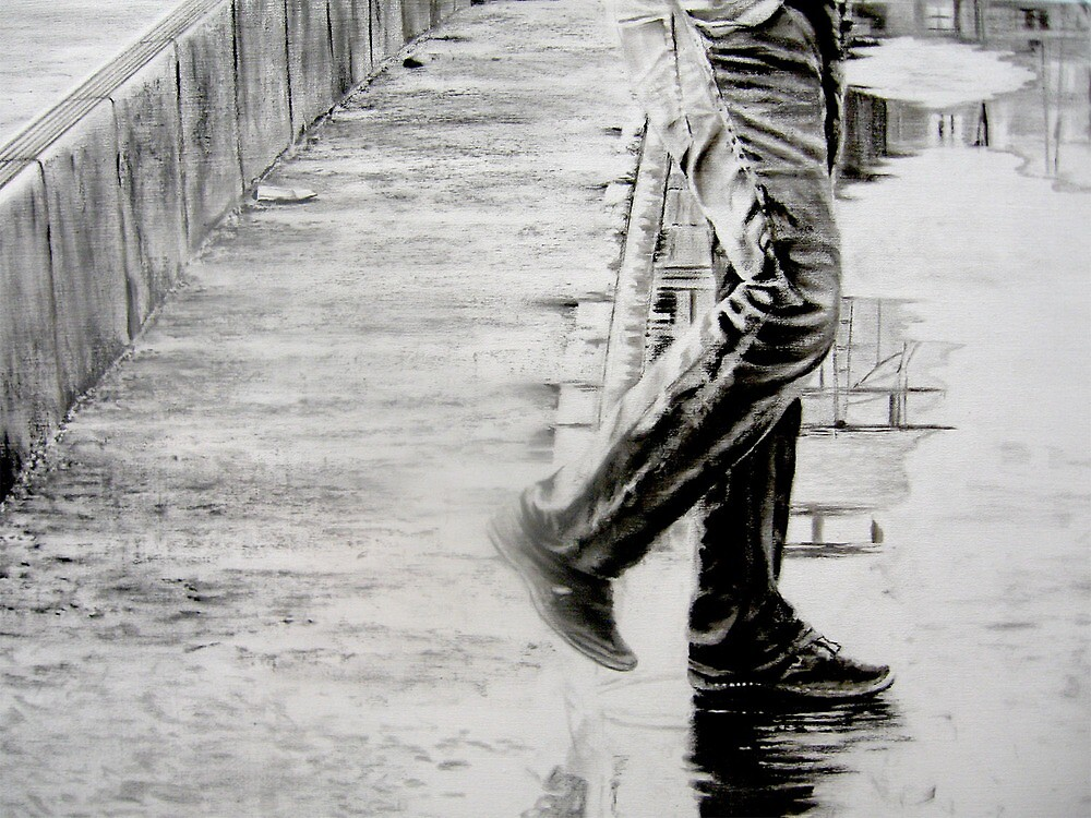 This is part 2.. laying in more details with charcoal. This canvas is 120 cm x 200 cm by Warren Haney