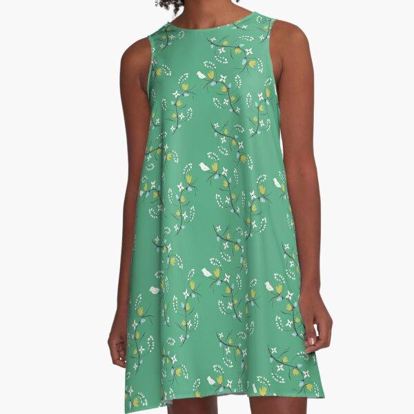 Spring Green Floral A-Line Dress