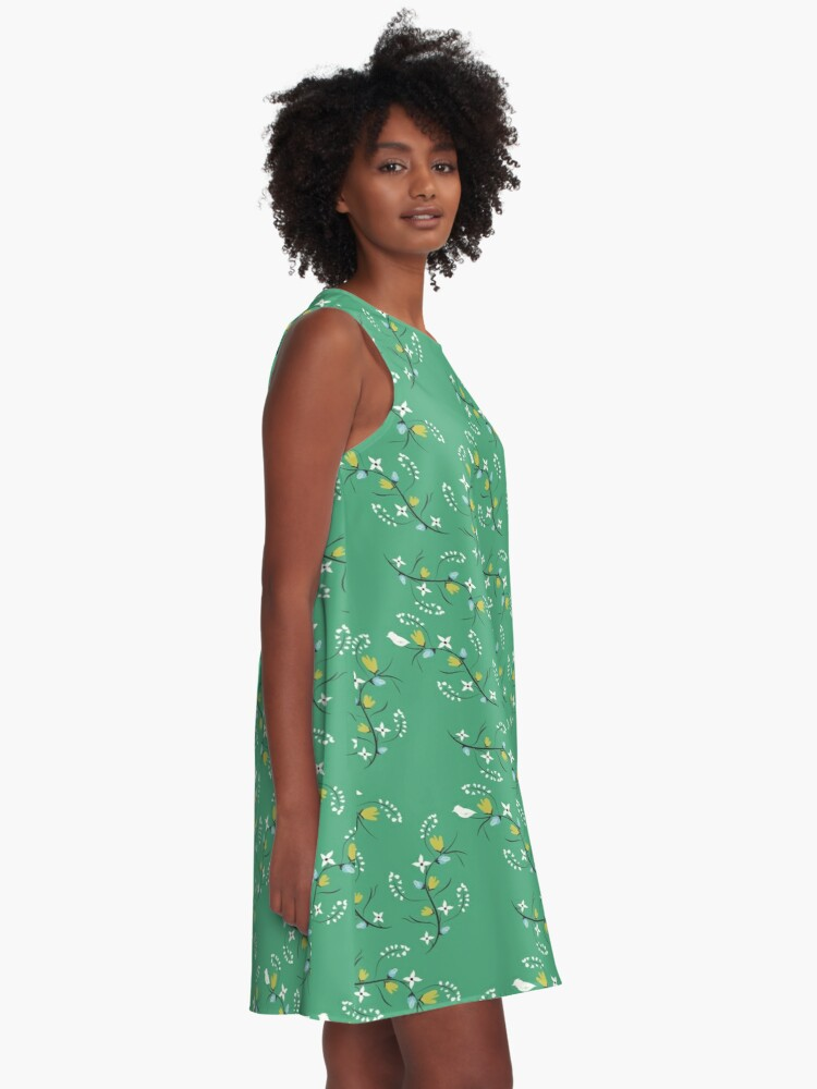 Alternate view of Spring Green Floral A-Line Dress