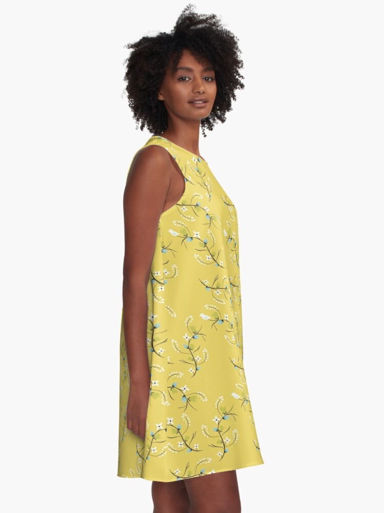 Alternate view of Spring Yellow Floral A-Line Dress