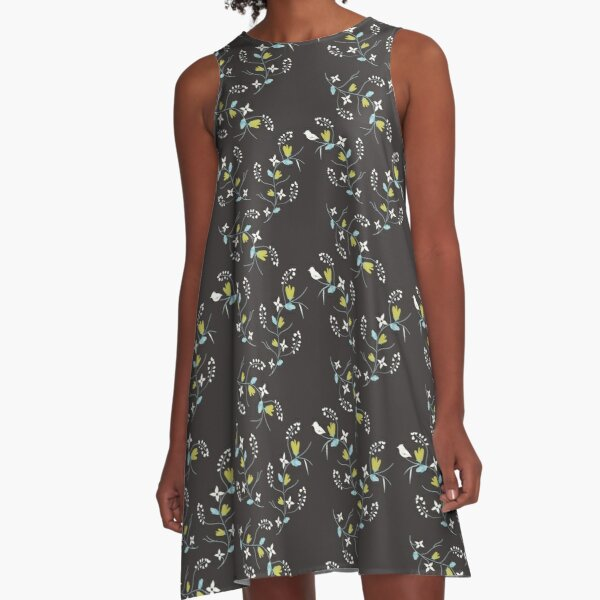 Spring charcoal grey Floral A-Line Dress