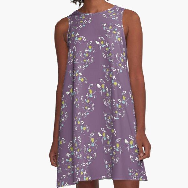 Spring Purple Floral A-Line Dress