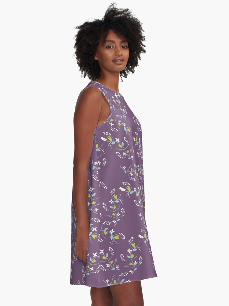 Alternate view of Spring Purple Floral A-Line Dress