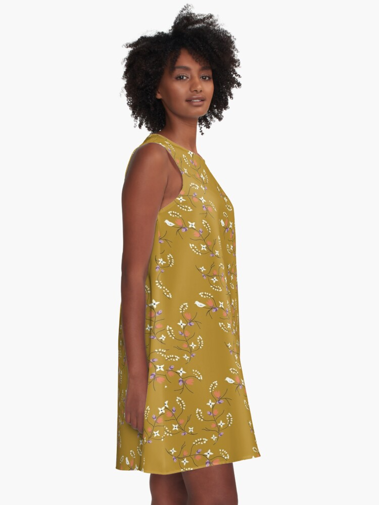 Alternate view of Spring Mustard Floral A-Line Dress