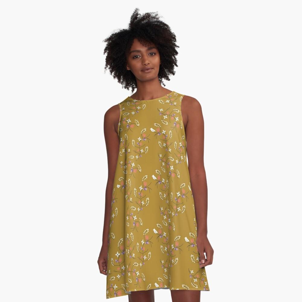 Spring Mustard Floral A-Line Dress