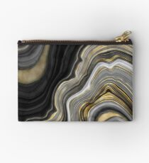 Black Marble Gold Ribbon Lines Studio Pouch