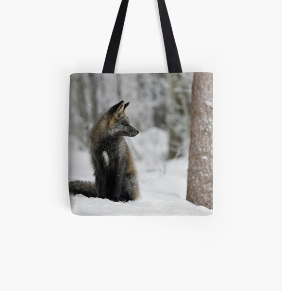 Silver Fox in Snow All Over Print Tote Bag