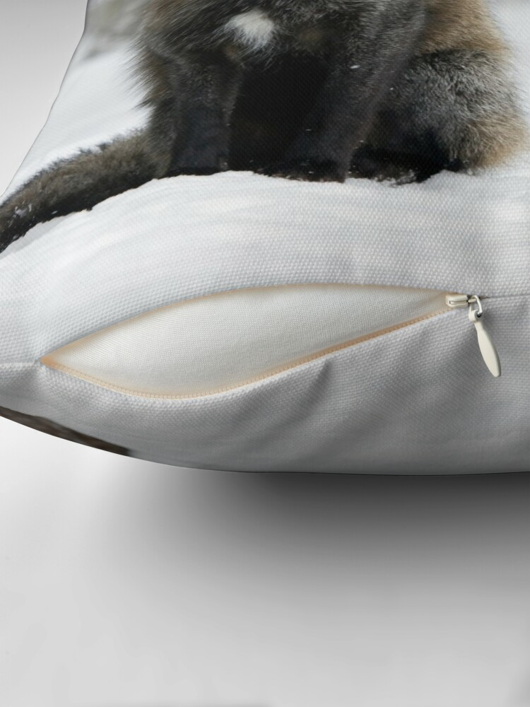 Alternate view of Silver Fox in Snow Throw Pillow