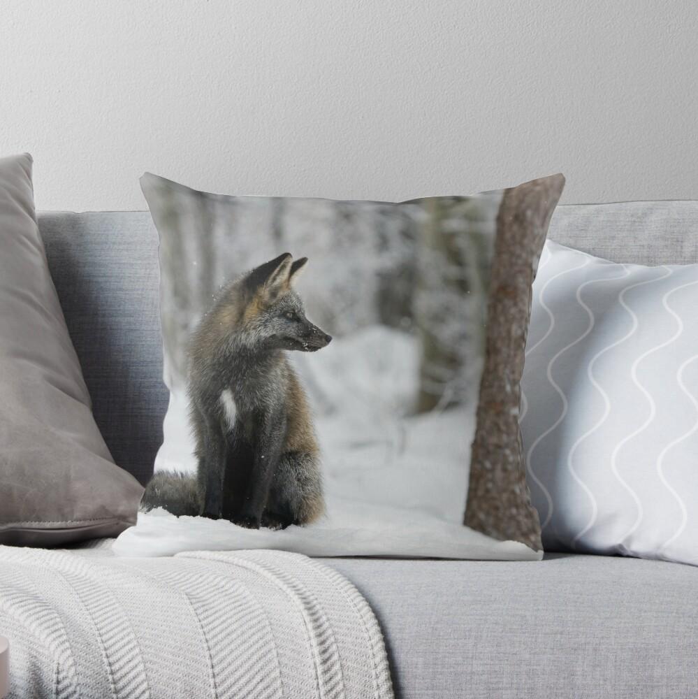 Silver Fox in Snow Throw Pillow