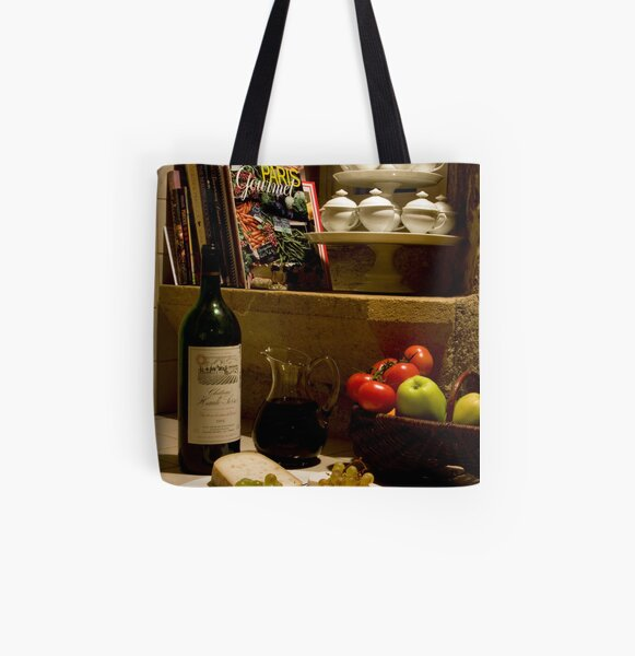 Un verre de vin rouge?  A glass of red wine? All Over Print Tote Bag