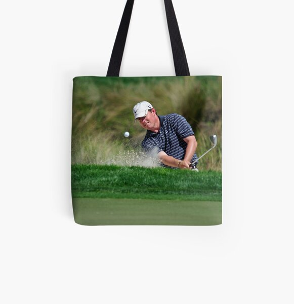 Justin Leonard - Hits Out of a Bunker All Over Print Tote Bag
