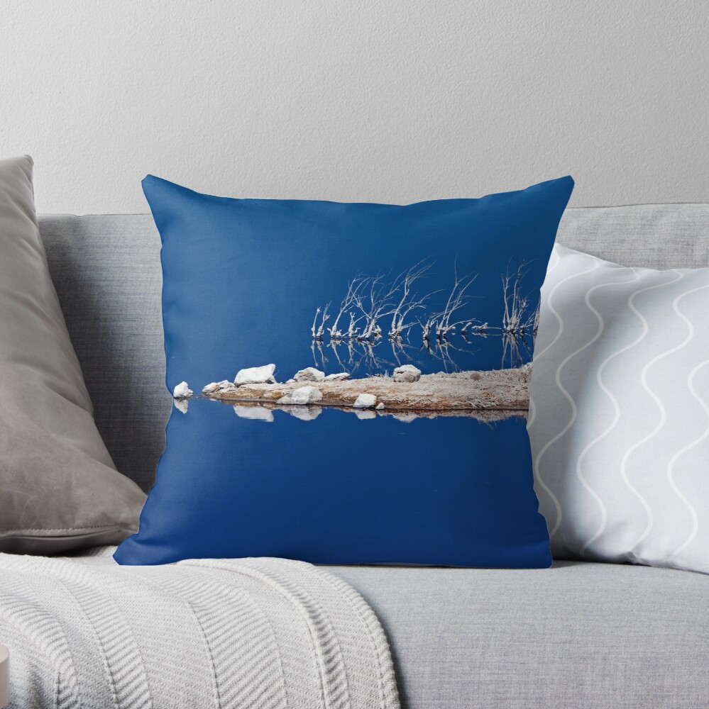 Salt Twigs Floating in an Island of Blue Throw Pillow