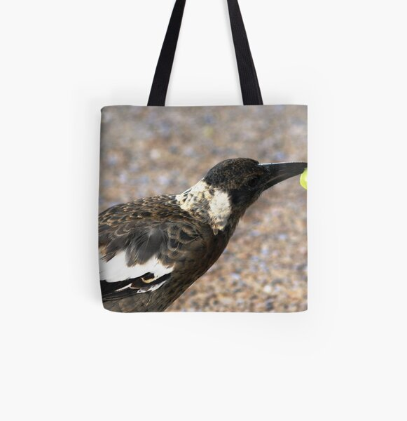 A bird with a Grape All Over Print Tote Bag