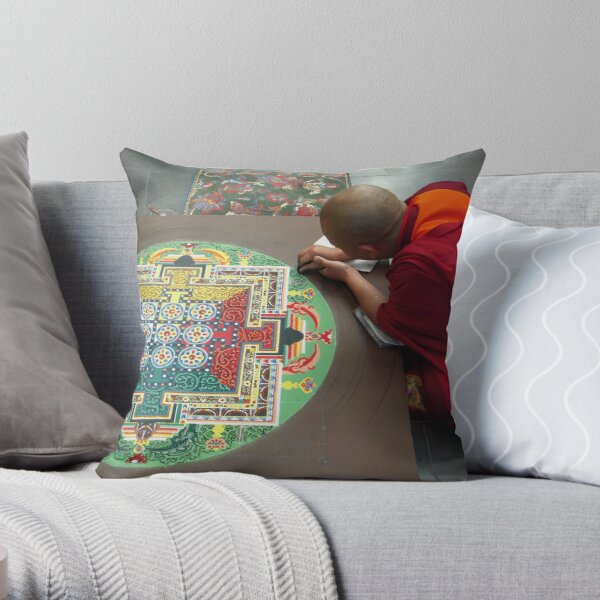 Monk and Mandala Throw Pillow