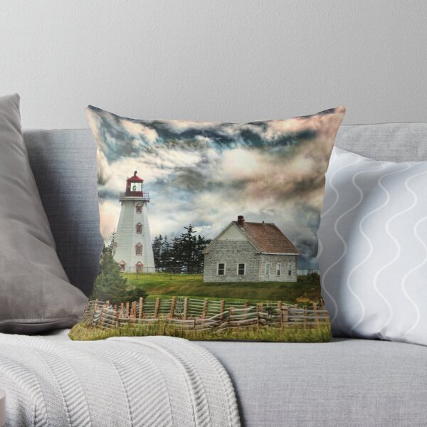 Panmure Island Lighthouse, PEI Throw Pillow
