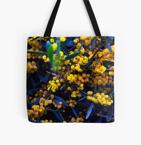 Blue and Yellow Florals All Over Print Tote Bag
