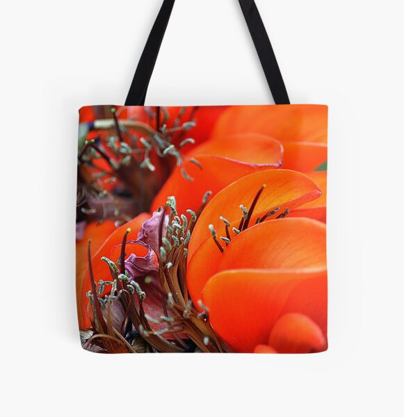 Orange Floral All Over Print Tote Bag