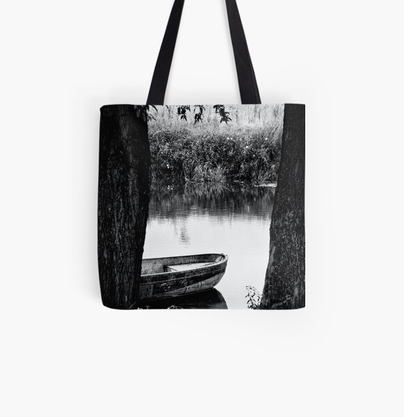 boat bw All Over Print Tote Bag