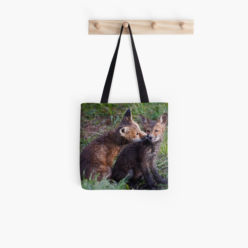 Fox Kits Drenched and Nuzzling Tote Bag