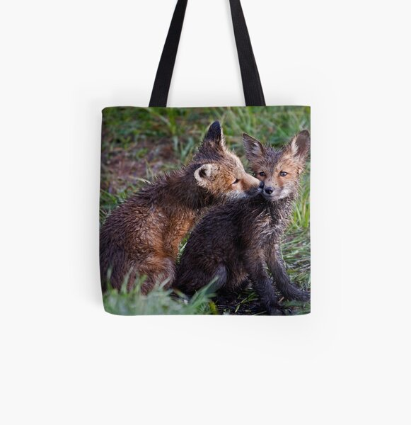 Fox Kits Drenched and Nuzzling All Over Print Tote Bag
