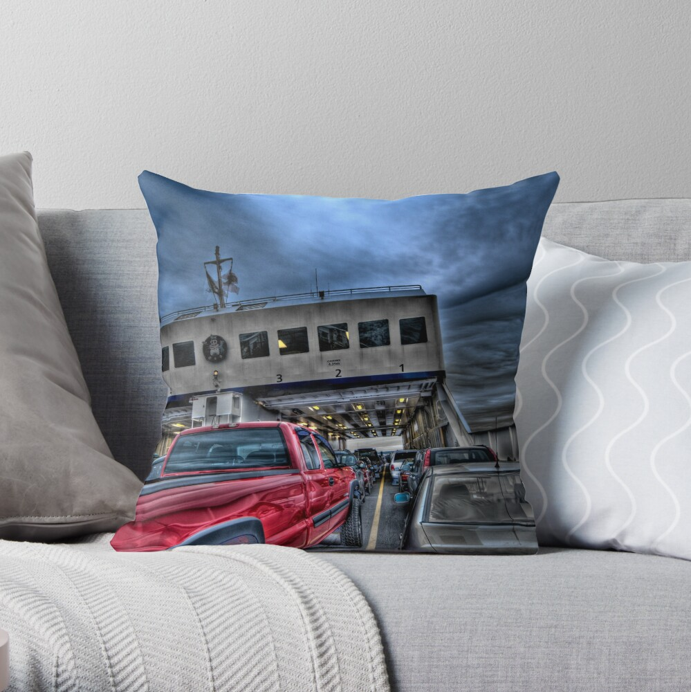 Red Truck on the Ferry Throw Pillow