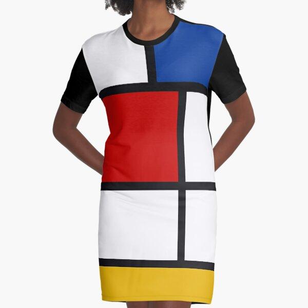 blau und gelb) es ist inspiriert von der De Stijl-Bewegung und den 1965 kreierten Kleidern von yves saint laurent, die ebenfalls von derselben Quelle inspiriert wurden. De Stijl (The Style) wurde 1917 von Piet Mondrian und Theo van Doesburg kreiert und p T-Shirt Kleid