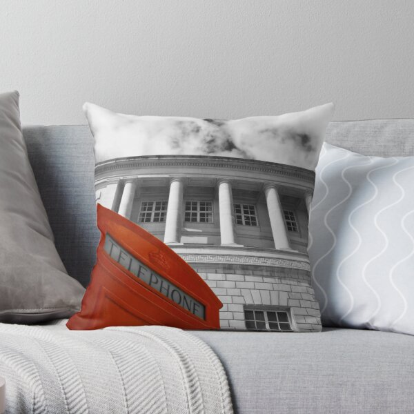 Red telephone box and Manchester library Throw Pillow