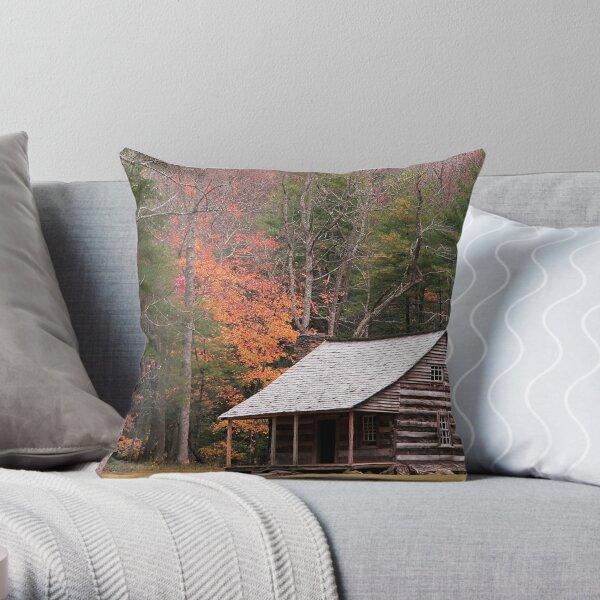 Cades Cove Cabin Throw Pillow