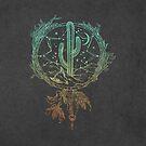 Dreamcatcher Desert Cactus Boho Southwest Design Teal Grey von naturemagick