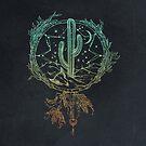 Dreamcatcher Desert Cactus Boho Southwest Design Teal Turquoise Navy Blue von naturemagick