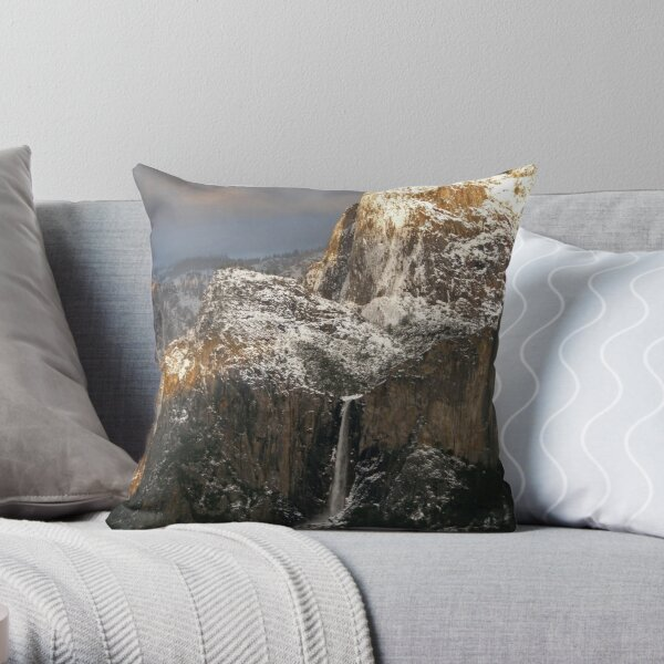 Evening Sun Greets the Mountains ~ Cathedral Rocks and Bridalveil Fall, Yosemite Throw Pillow