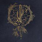 Dreamcatcher Desert Cactus Boho Southwest Design Gold Navy Blue von naturemagick