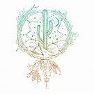 Dreamcatcher Desert Cactus Boho Southwest Design Teal Turquoise White von naturemagick