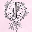 Dreamcatcher Desert Cactus Boho Southwest Design Pink Black Drawing von naturemagick