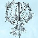 Dreamcatcher Desert Cactus Boho Southwest Design Teal Turquoise Black Drawing von naturemagick