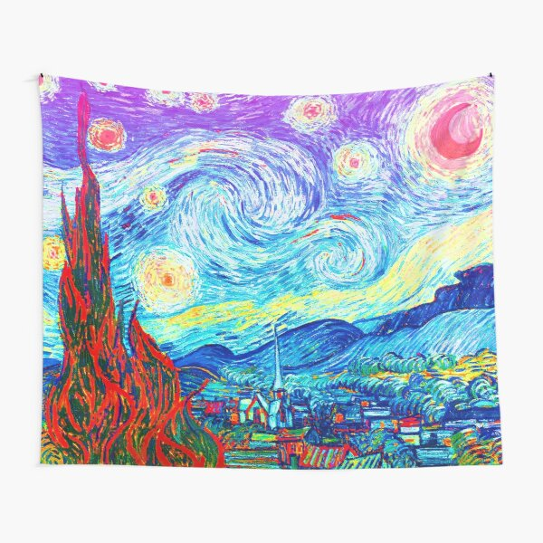 Psychedelic Colorful Starry Night Abstract Van Gogh Tapestry