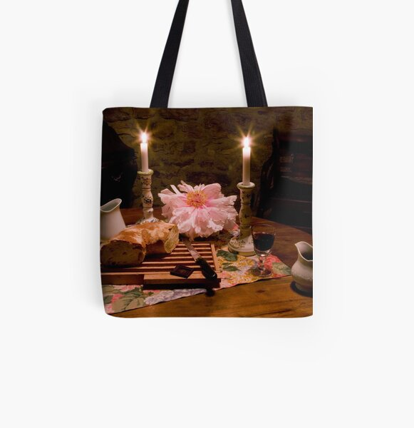 Bread, Wine, and Peony All Over Print Tote Bag