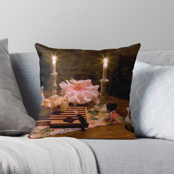 Bread, Wine, and Peony Throw Pillow